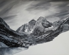 Maroon Bells Unfinished. 2015. Acrylic on canvas. 20x24