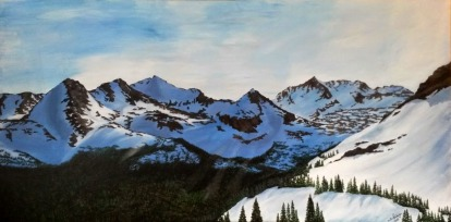 Spring in the Indian Peaks. 2014. Acrylic on canvas. 24x48