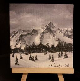 Mini 14er. 2014. Acrylic on canvas board. 4x4