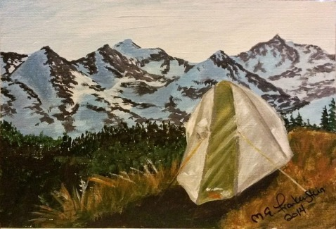 Indian Peaks Campsite. 2014. Acrylic on canvass paper. 4x6