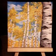 Summit County Aspens. 2014. Acrylic on canvas board. 4x4