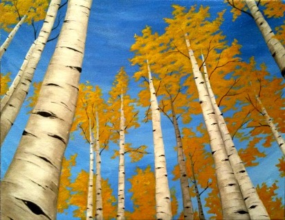 Up through the Aspens. 2015. Acrylic on Canvass. 11x14