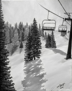 Copper Ski Lift #1. 2016. Acrylic on Canvas. 11x14
