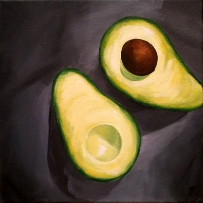Avocados. 2016. Acrylic on Canvass. 12x12