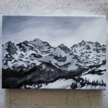 Indian Peaks in Black and White. 2016. Acrylic on canvas. 5x7