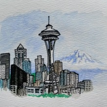 Seattle Thank you Card. 2017. Close up
