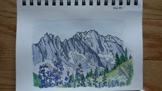 North Cascades in Purple. 5x7 Watercolor