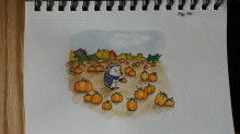 Hedgie goes to the pumpkin patch. 5x7 watercolor