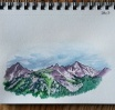 Gore Range in Purple. 5x7 watercolor
