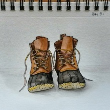 LL Bean Boots. 5x7. watercolor