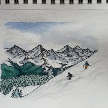 Copper Snow Day. 5x7 watercolor