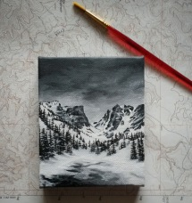 Dream Lake II. 4x5. acrylic on canvas 2017