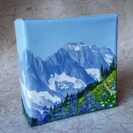 North Cascades in Purple. 4x4 acrylic on canvas. 2017